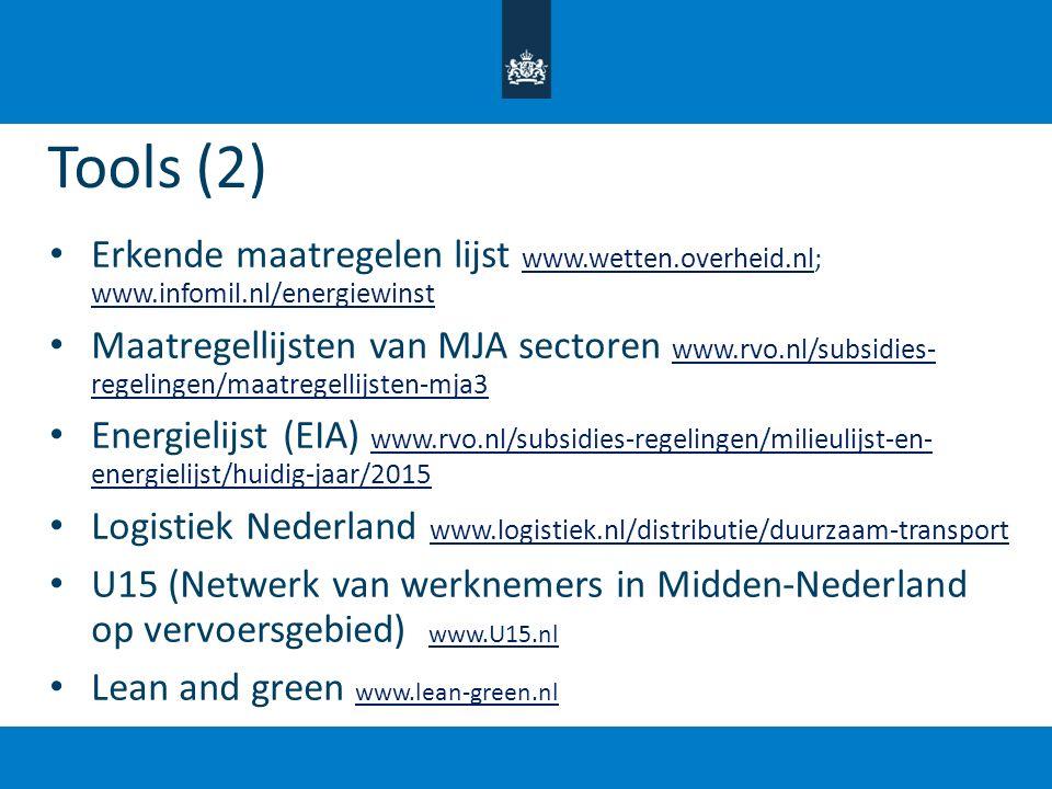 Tools (2) Erkende maatregelen lijst www.wetten.overheid.nl; www.infomil.nl/energiewinst.