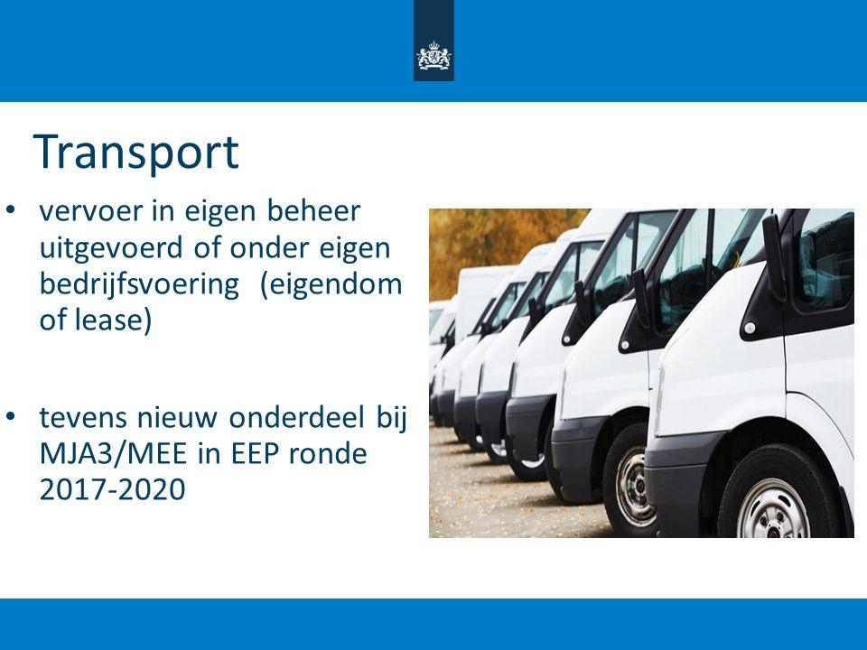 Transport vervoer in eigen beheer uitgevoerd of onder eigen bedrijfsvoering (eigendom of lease)