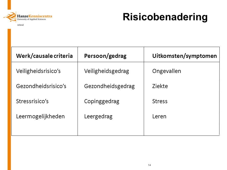 Risicobenadering Werk/causale criteria Persoon/gedrag Uitkomsten/symptomen. Veiligheidsrisico's Veiligheidsgedrag Ongevallen.