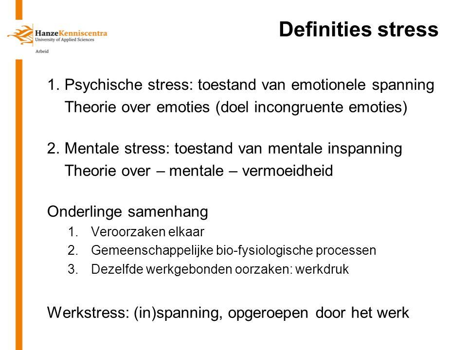 Definities stress 1. Psychische stress: toestand van emotionele spanning. Theorie over emoties (doel incongruente emoties)