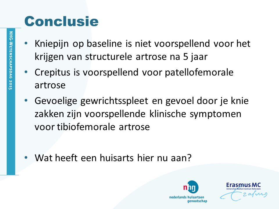 Conclusie Kniepijn op baseline is niet voorspellend voor het krijgen van structurele artrose na 5 jaar.