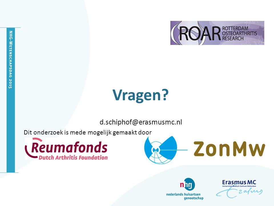 Vragen d.schiphof@erasmusmc.nl