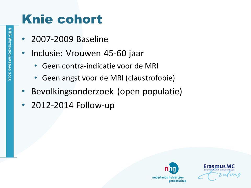 Knie cohort 2007-2009 Baseline Inclusie: Vrouwen 45-60 jaar
