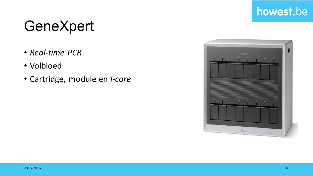GeneXpert Real-time PCR Volbloed Cartridge, module en I-core