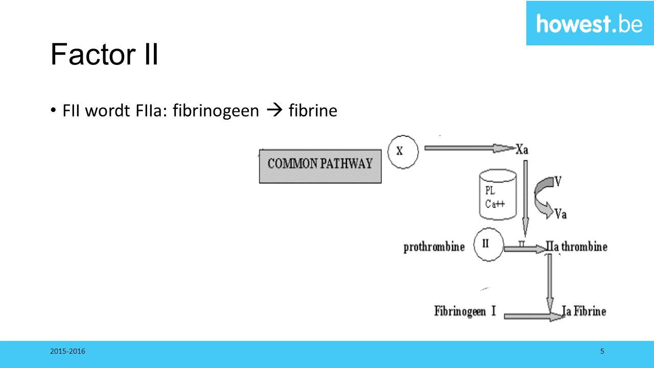 Factor II FII wordt FIIa: fibrinogeen  fibrine