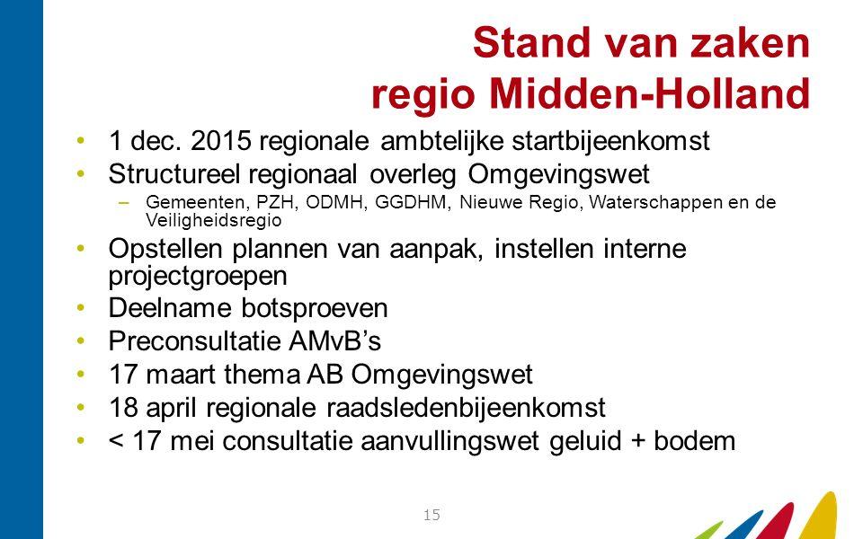 Stand van zaken regio Midden-Holland