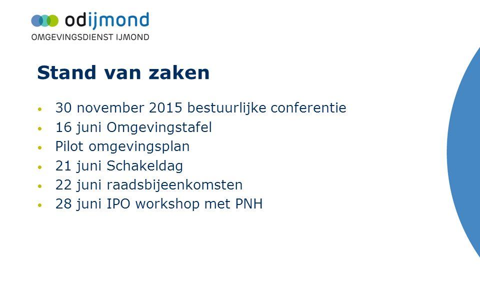 Stand van zaken 30 november 2015 bestuurlijke conferentie