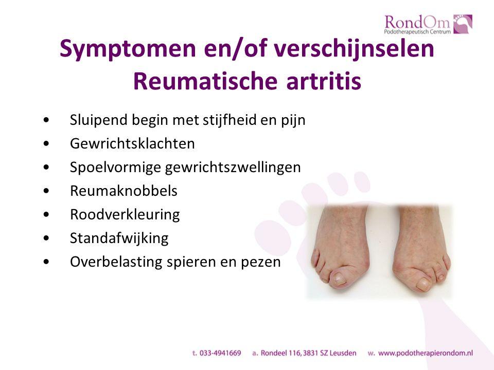 Symptomen en/of verschijnselen Reumatische artritis