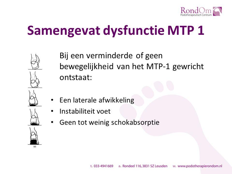 Samengevat dysfunctie MTP 1