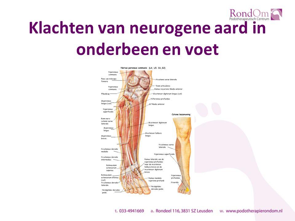 Klachten van neurogene aard in onderbeen en voet