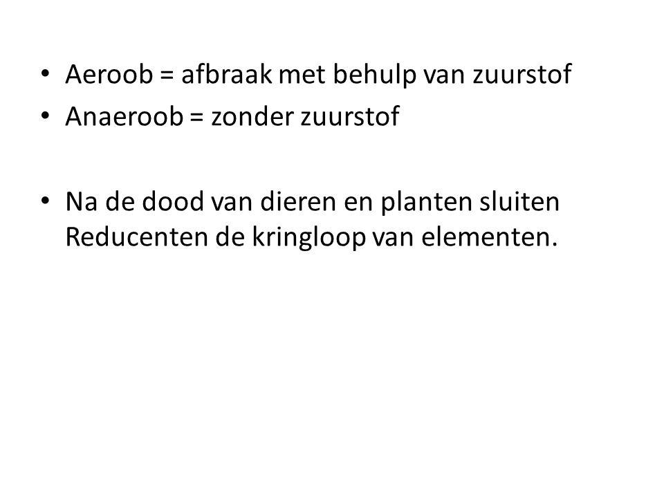 Aeroob = afbraak met behulp van zuurstof