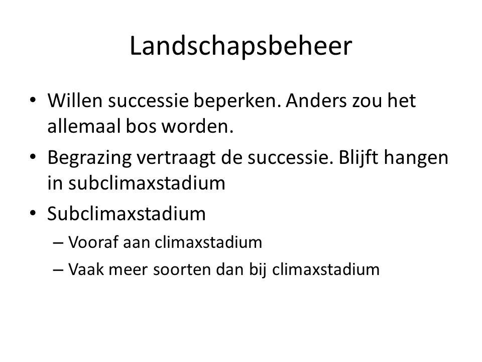 Landschapsbeheer Willen successie beperken. Anders zou het allemaal bos worden. Begrazing vertraagt de successie. Blijft hangen in subclimaxstadium.