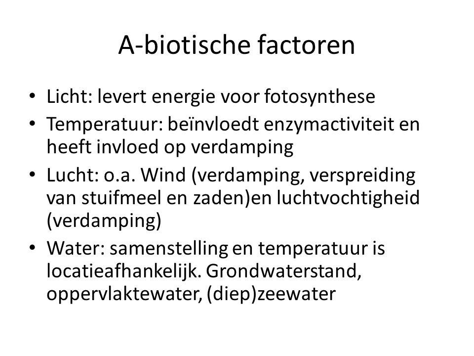 A-biotische factoren Licht: levert energie voor fotosynthese