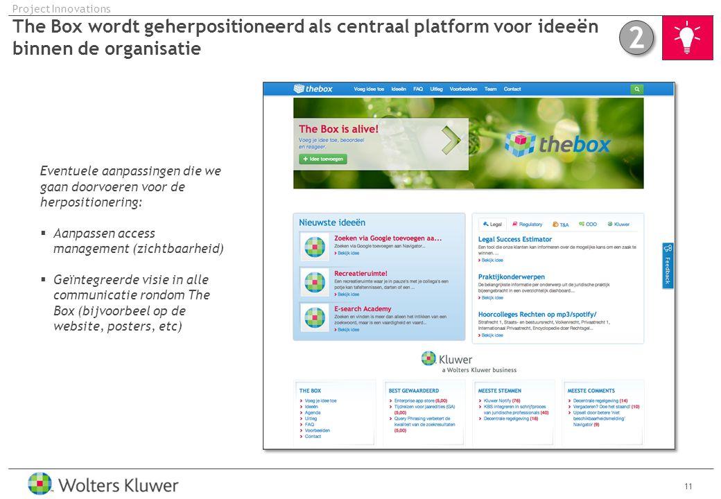Project Innovations The Box wordt geherpositioneerd als centraal platform voor ideeën binnen de organisatie.