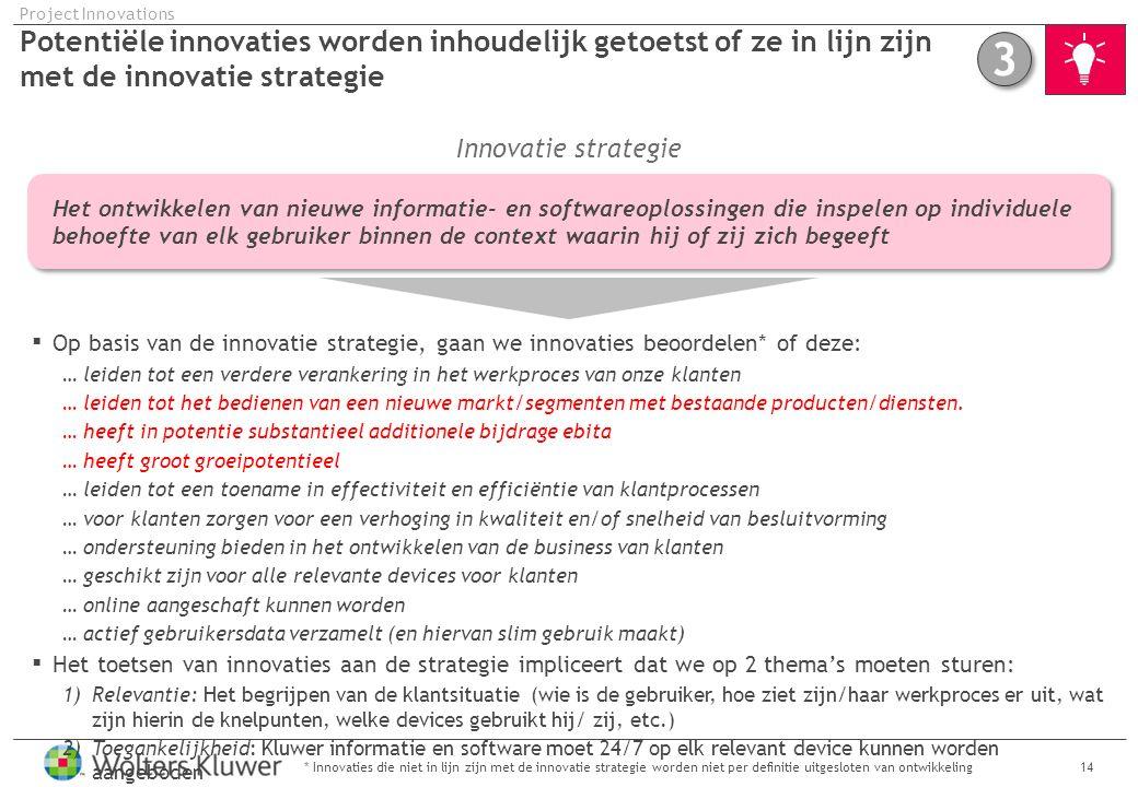 Project Innovations Potentiële innovaties worden inhoudelijk getoetst of ze in lijn zijn met de innovatie strategie.
