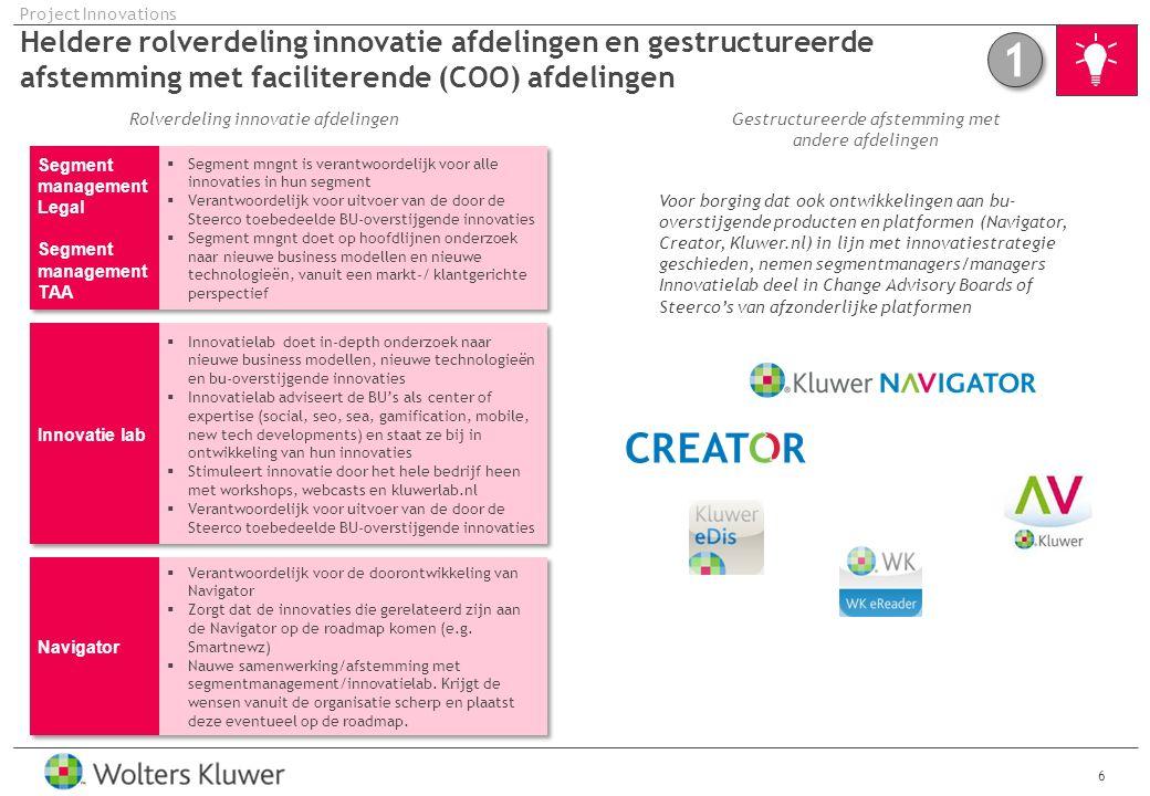 Project Innovations Heldere rolverdeling innovatie afdelingen en gestructureerde afstemming met faciliterende (COO) afdelingen.