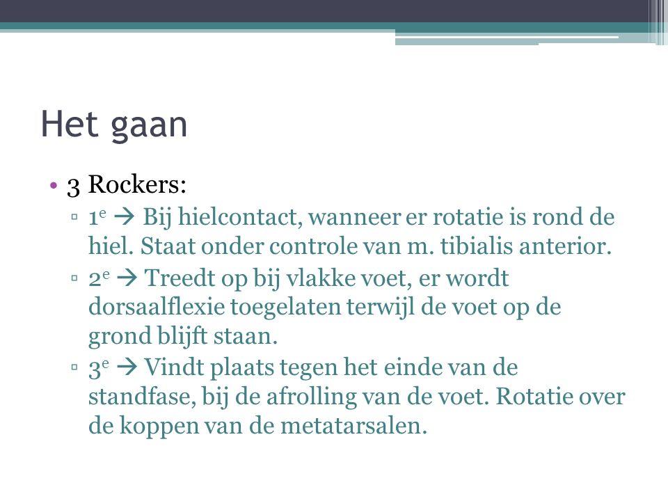 Het gaan 3 Rockers: 1e  Bij hielcontact, wanneer er rotatie is rond de hiel. Staat onder controle van m. tibialis anterior.