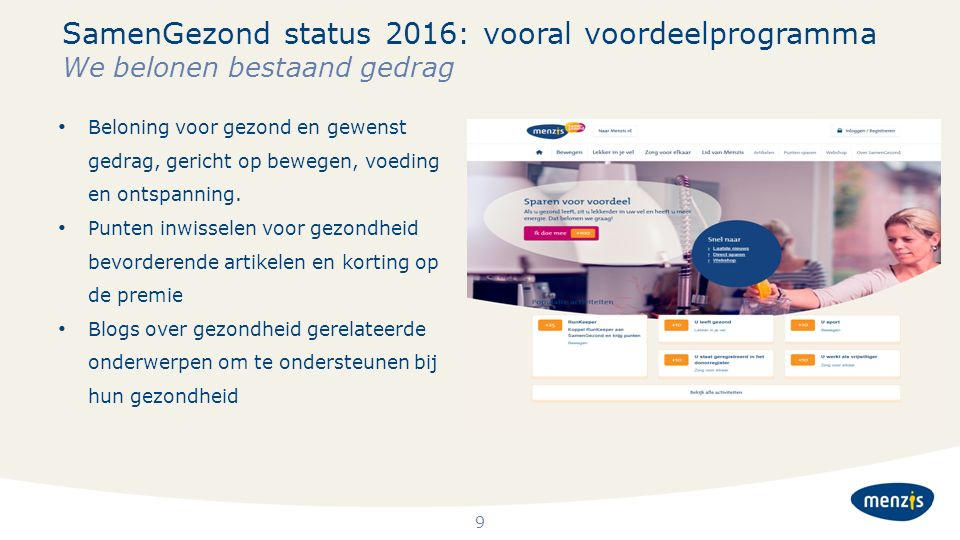 SamenGezond status 2016: vooral voordeelprogramma We belonen bestaand gedrag