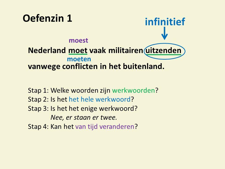 Oefenzin 1 infinitief. moest. Nederland moet vaak militairen uitzenden vanwege conflicten in het buitenland.