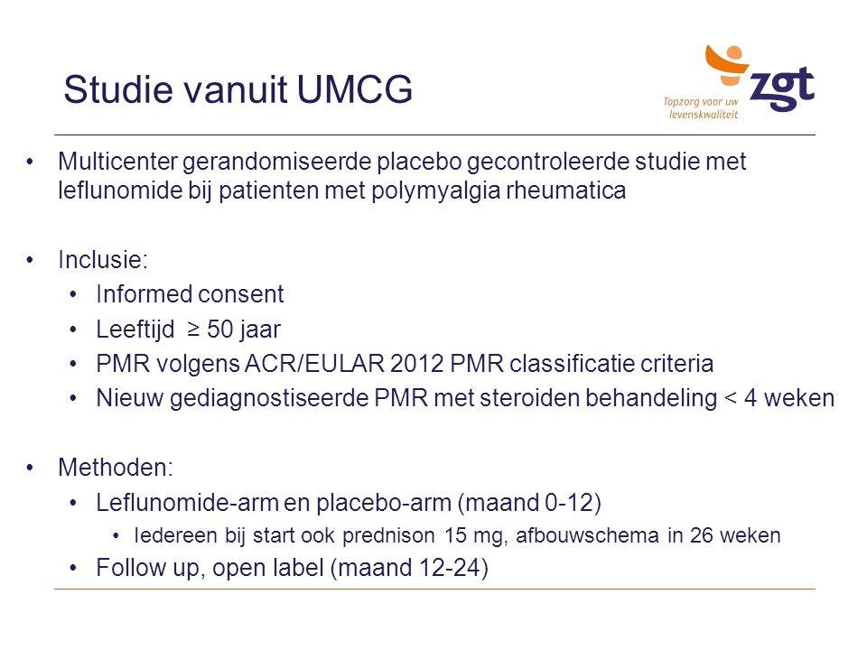 Studie vanuit UMCG Multicenter gerandomiseerde placebo gecontroleerde studie met leflunomide bij patienten met polymyalgia rheumatica.