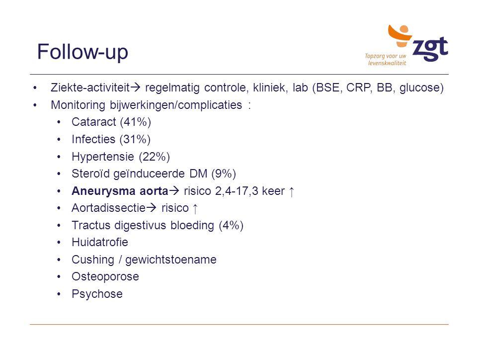 Follow-up Ziekte-activiteit regelmatig controle, kliniek, lab (BSE, CRP, BB, glucose) Monitoring bijwerkingen/complicaties :
