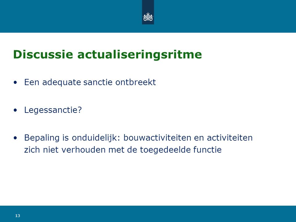 Discussie actualiseringsritme