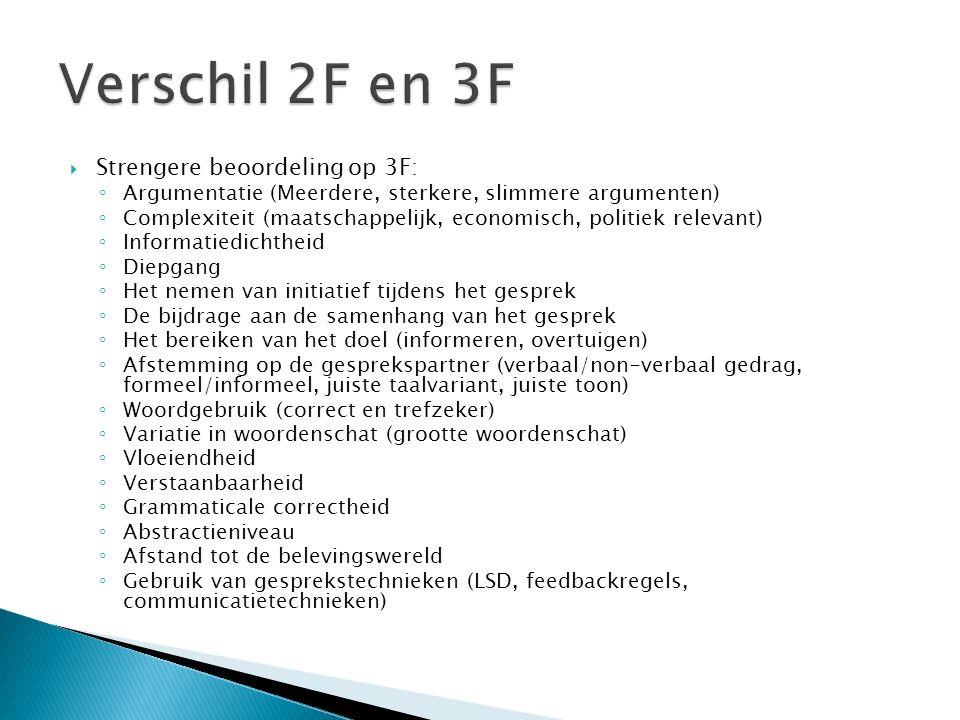 Verschil 2F en 3F Strengere beoordeling op 3F: