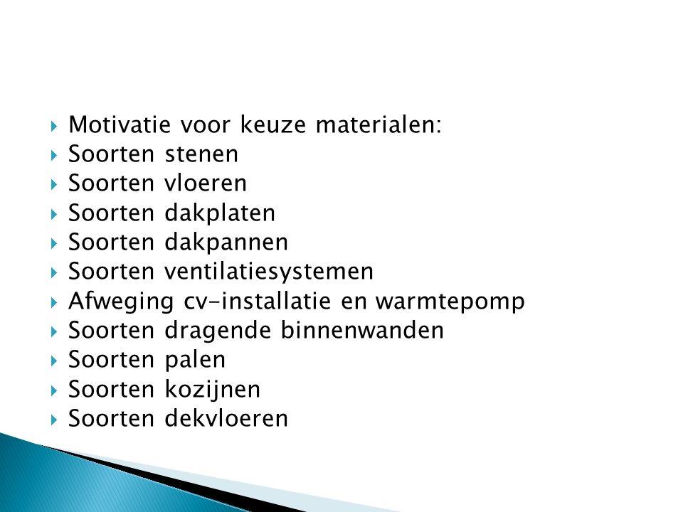 Motivatie voor keuze materialen: