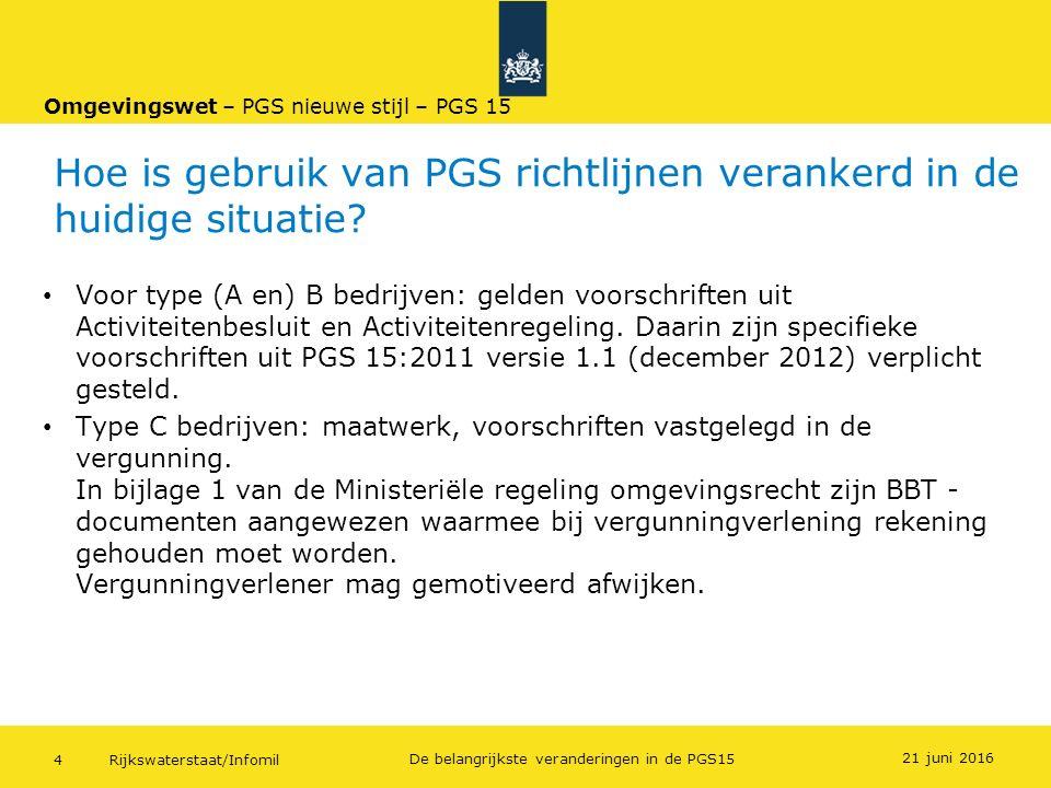Hoe is gebruik van PGS richtlijnen verankerd in de huidige situatie