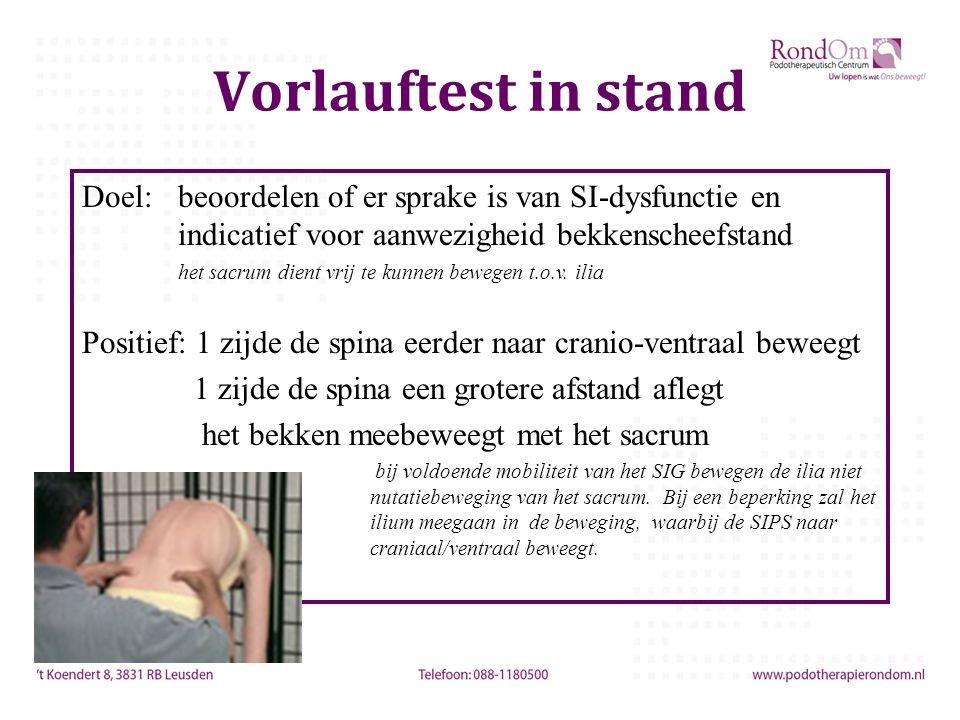 Vorlauftest in stand Doel: beoordelen of er sprake is van SI-dysfunctie en indicatief voor aanwezigheid bekkenscheefstand.
