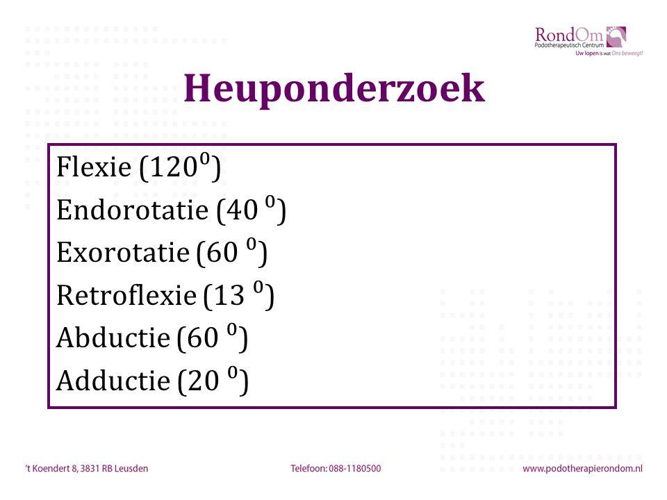 Heuponderzoek Flexie (120⁰) Endorotatie (40 ⁰) Exorotatie (60 ⁰)