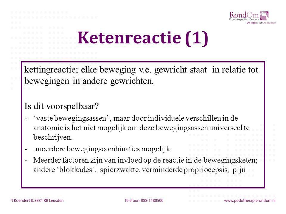 Ketenreactie (1) kettingreactie; elke beweging v.e. gewricht staat in relatie tot bewegingen in andere gewrichten.