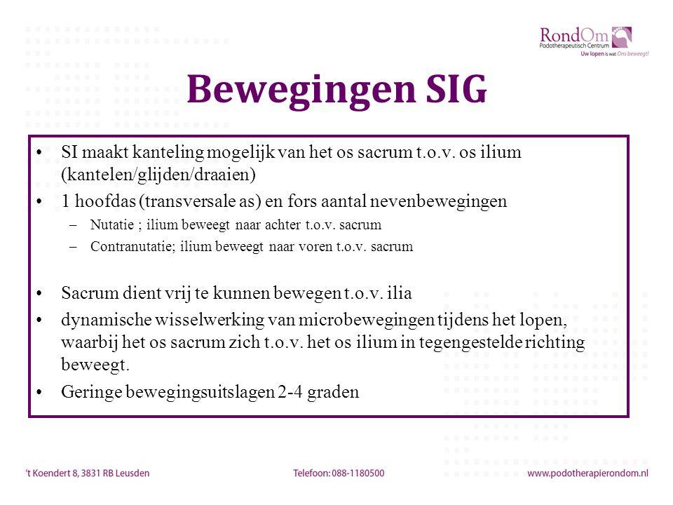 Bewegingen SIG SI maakt kanteling mogelijk van het os sacrum t.o.v. os ilium (kantelen/glijden/draaien)