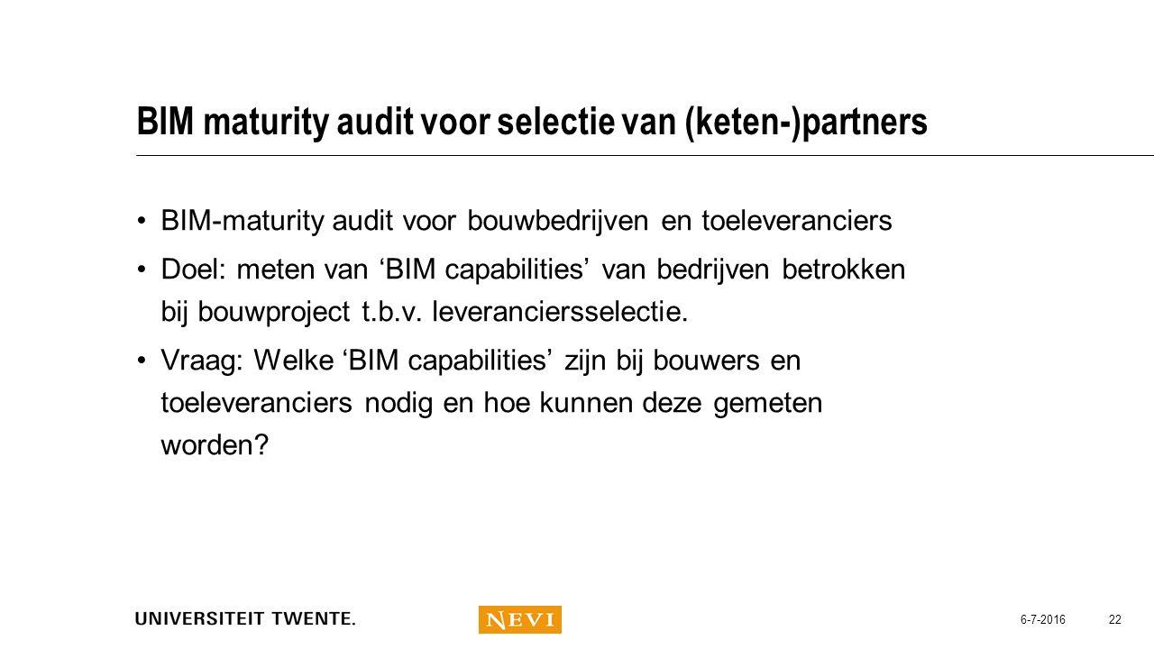 BIM maturity audit voor selectie van (keten-)partners
