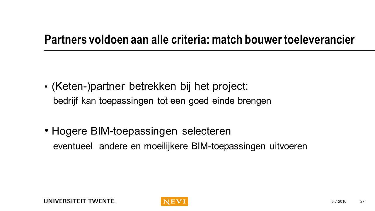 Partners voldoen aan alle criteria: match bouwer toeleverancier