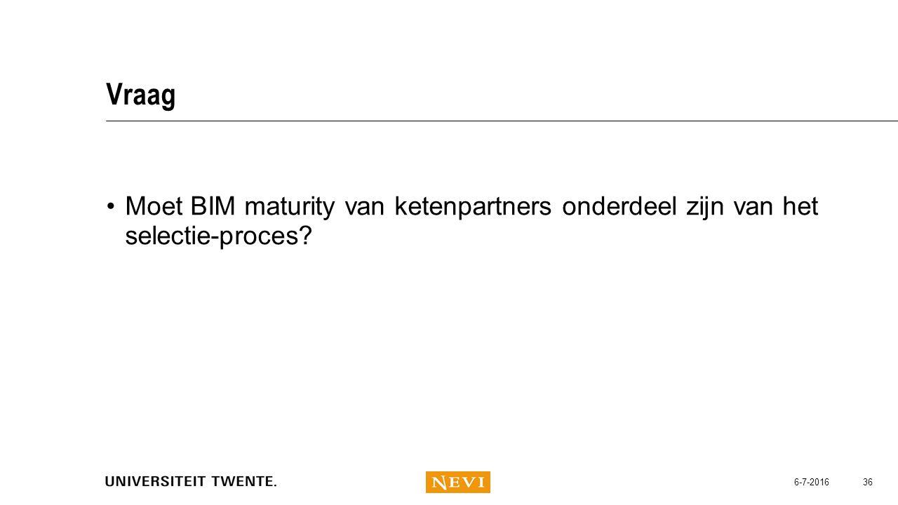Vraag Moet BIM maturity van ketenpartners onderdeel zijn van het selectie-proces