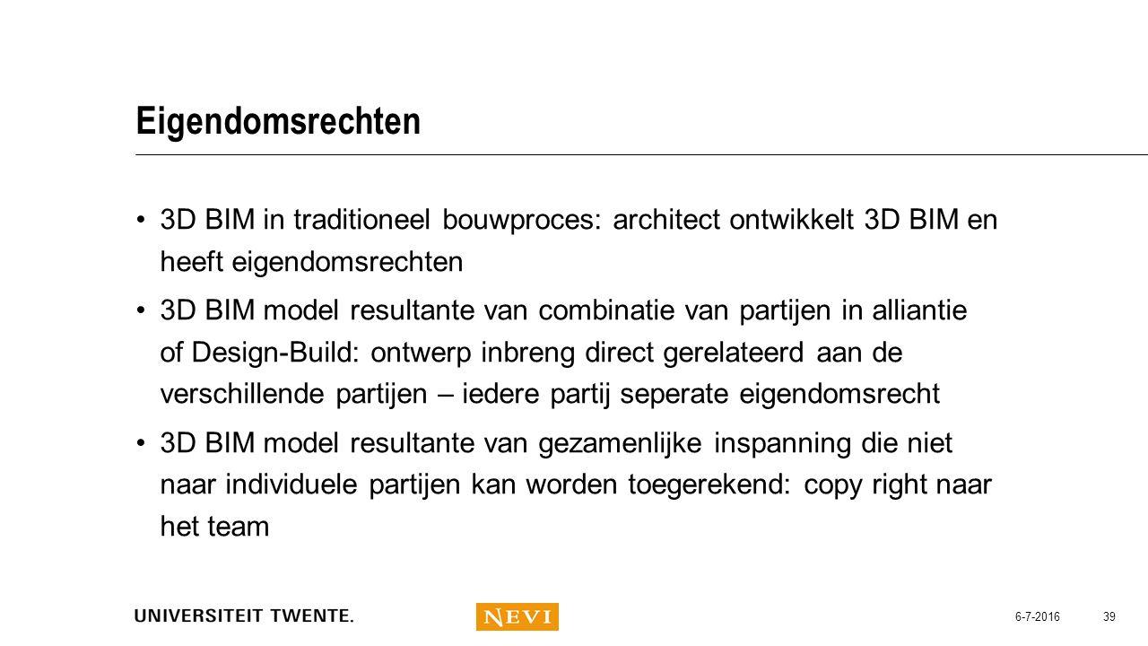 Eigendomsrechten 3D BIM in traditioneel bouwproces: architect ontwikkelt 3D BIM en heeft eigendomsrechten.
