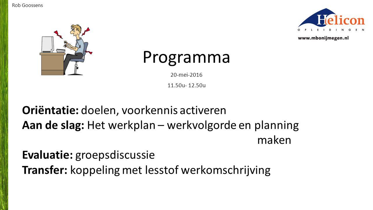 Programma Oriëntatie: doelen, voorkennis activeren
