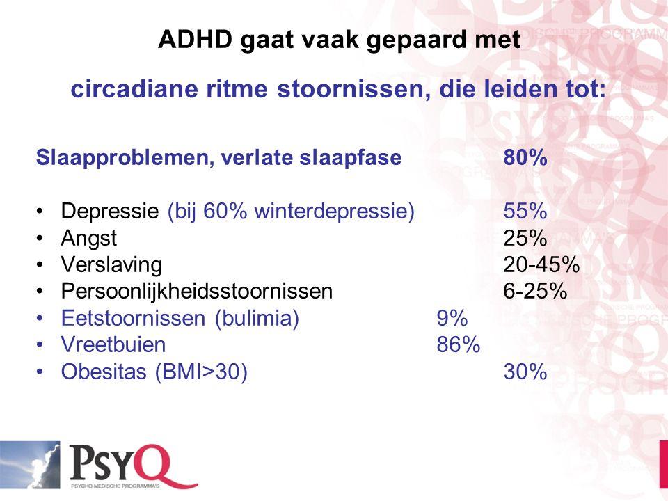 ADHD gaat vaak gepaard met circadiane ritme stoornissen, die leiden tot: