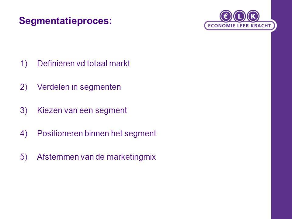 Segmentatieproces: Definiëren vd totaal markt Verdelen in segmenten