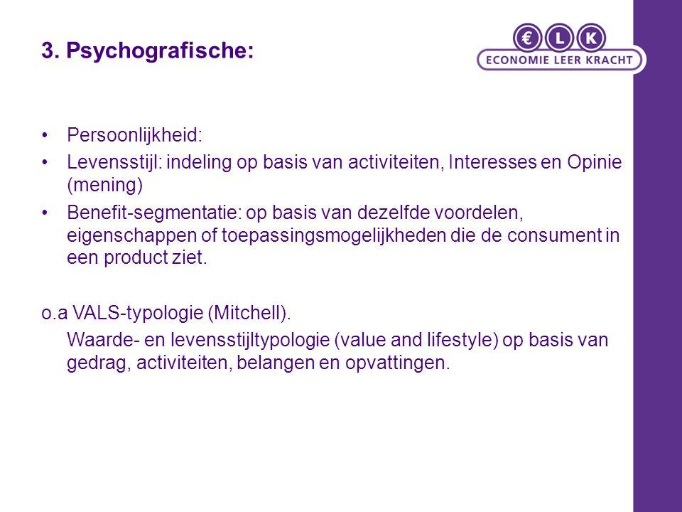 3. Psychografische: Persoonlijkheid: