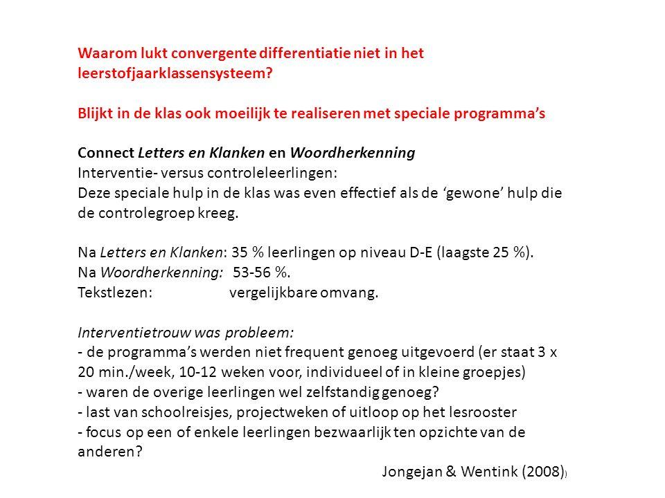 Waarom lukt convergente differentiatie niet in het leerstofjaarklassensysteem