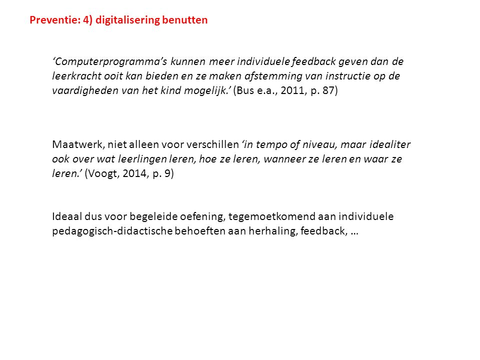 Preventie: 4) digitalisering benutten