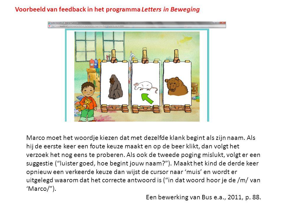 Voorbeeld van feedback in het programma Letters in Beweging