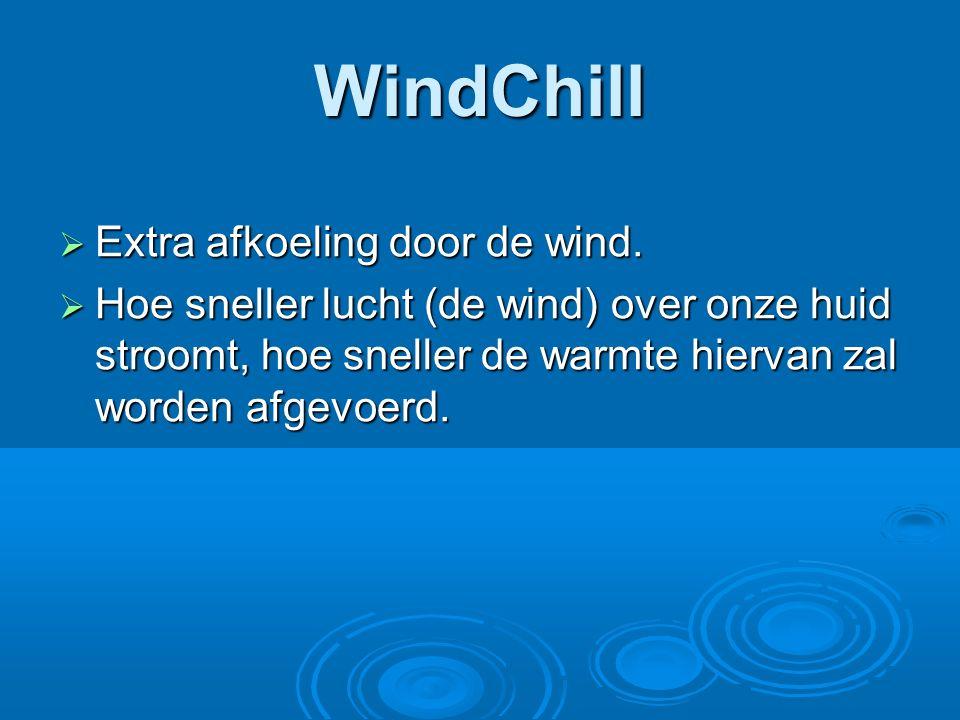 WindChill Extra afkoeling door de wind.
