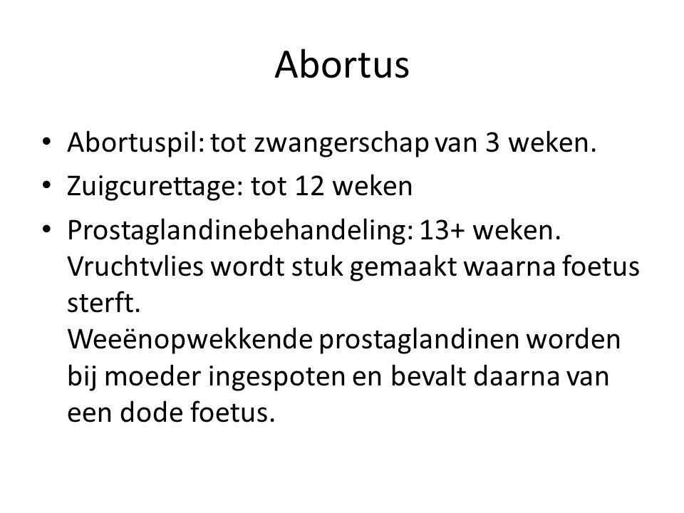 Abortus Abortuspil: tot zwangerschap van 3 weken.