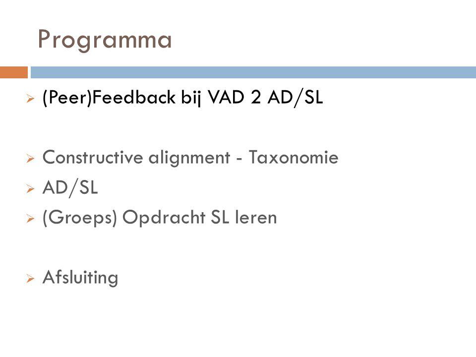 Programma (Peer)Feedback bij VAD 2 AD/SL