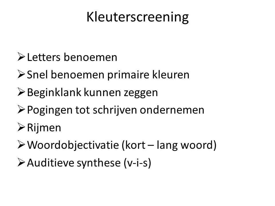 Kleuterscreening Letters benoemen Snel benoemen primaire kleuren