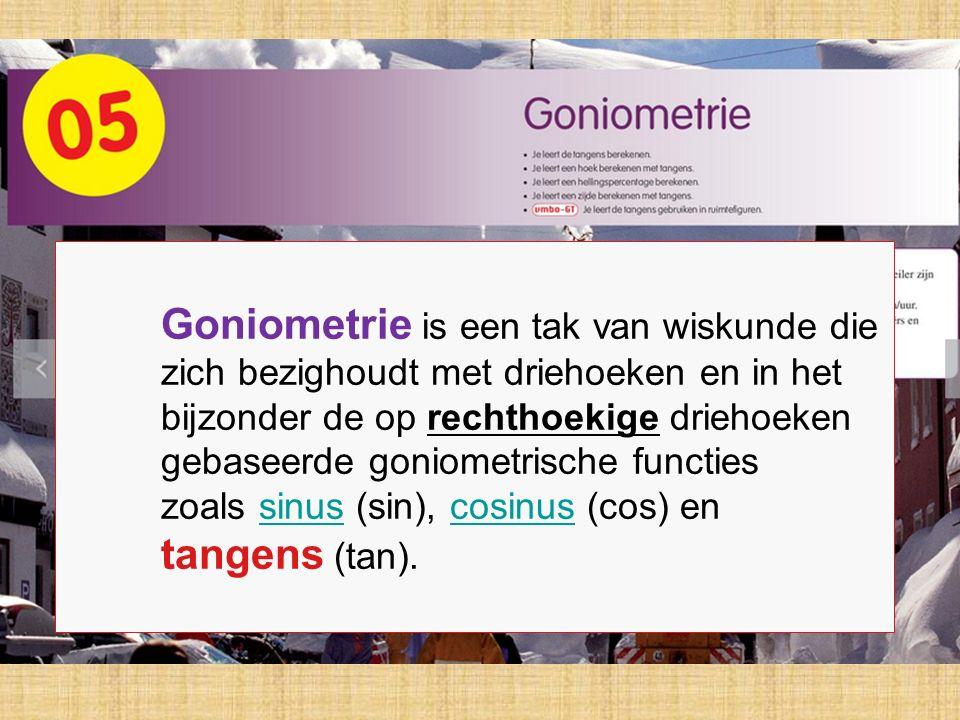 Goniometrie is een tak van wiskunde die