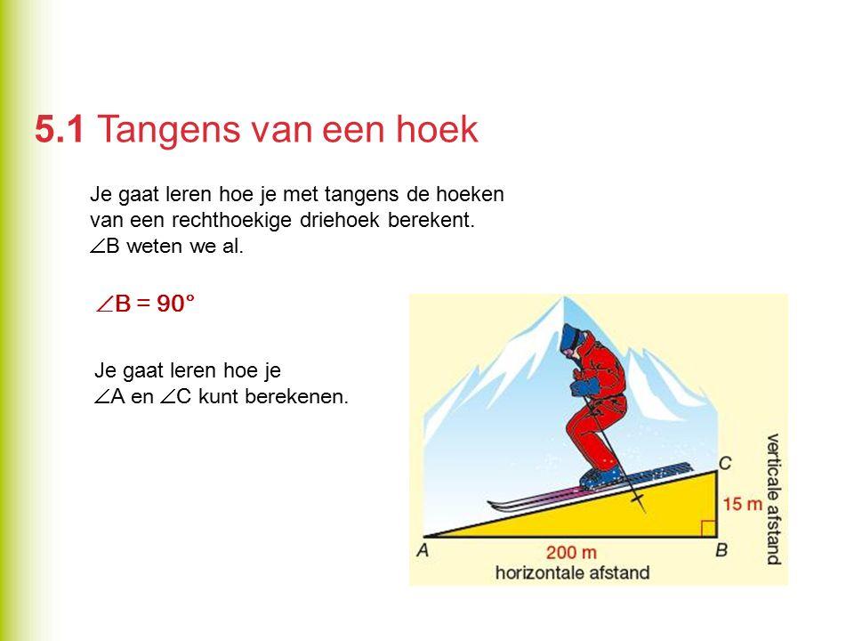 5.1 Tangens van een hoek B = 90°